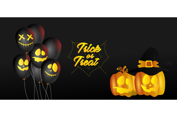 Halloween Balloons and Pumpkin Design Graphic Backgrounds By Muhammad Rizky Klinsman