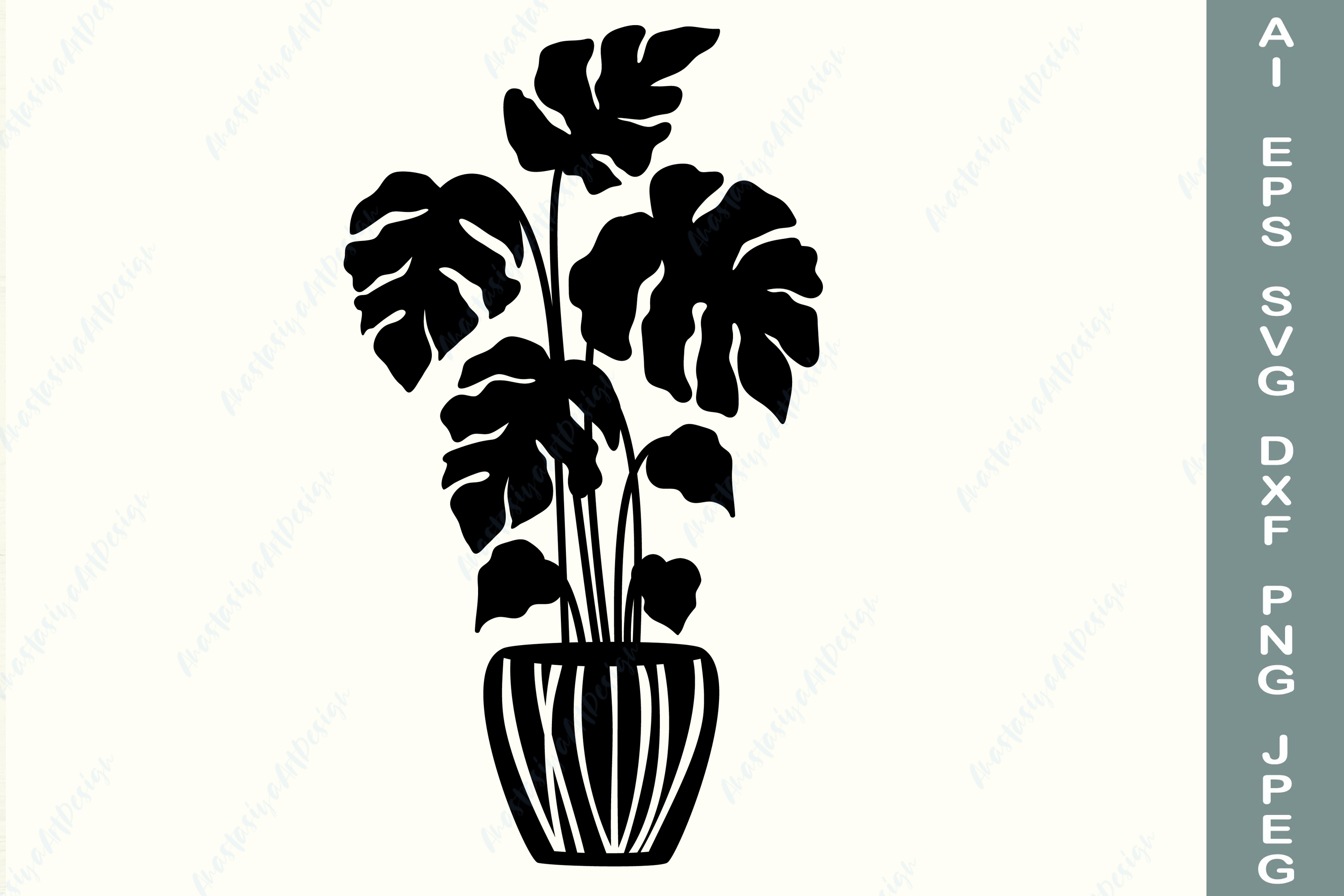Monstera, Potted Plant, Tropical SVG File