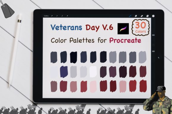 Procreate Color Palettes-Veterans Day V6 Graphic Add-ons By jennythip