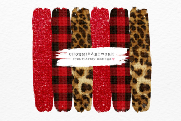 Red Plaid, Leopard, Red Glitter Graphic Crafts By Chonnieartwork