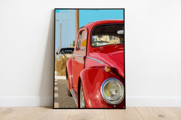 Print on Demand: Red Volkswagen Watercolor Graphic Illustrations By Silenic.co
