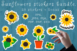 Print on Demand: Sunflower Stickers Bundle. Sunflower SVG Graphic Illustrations By OK-Design
