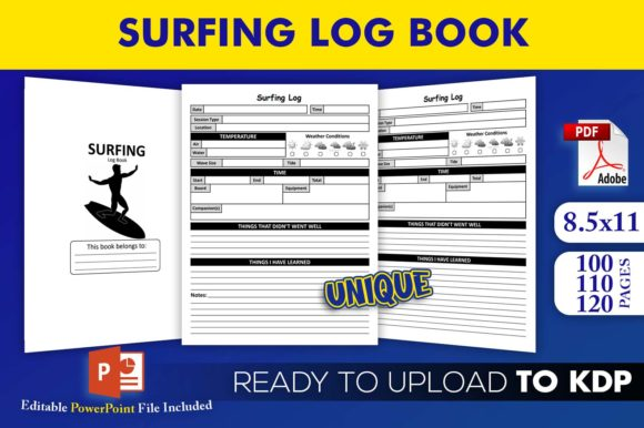 Print on Demand: Surfing Log Book | KDP Interior Template Graphic KDP Interiors By Beast Designer