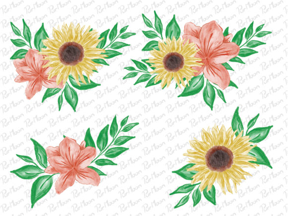 Watercolor Flower Floral Graphic Illustrations By PurMoon