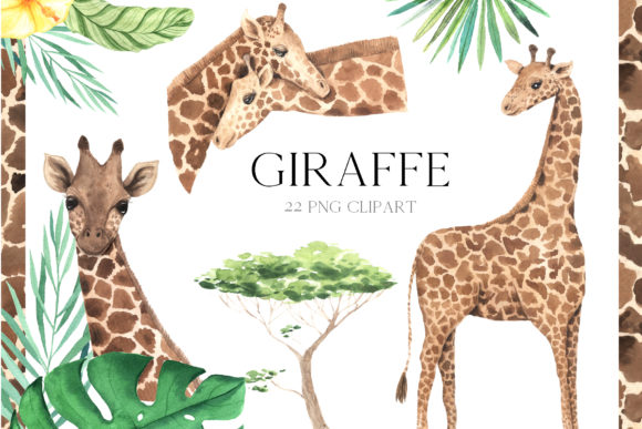 Watercolor Giraffe Clipart Graphic Illustrations By Larysa Zabrotskaya