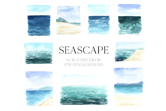 Watercolor Sea Beckground Graphic Illustrations By Larysa Zabrotskaya