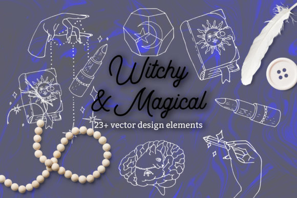 Witchy and Magical - Vector Line Art Grafik Objects von neauth