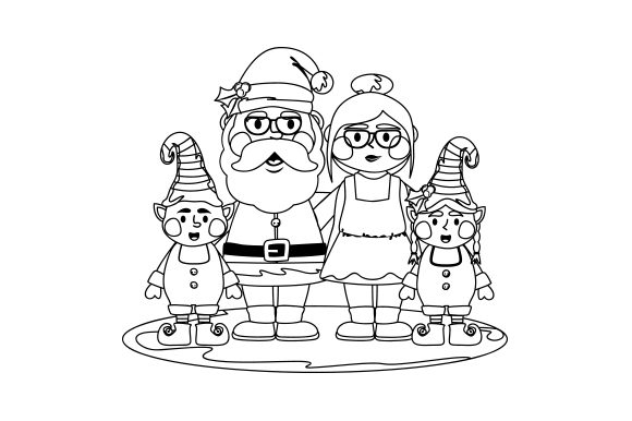 Mr. & Mrs. Claus with Elves Cut File Download