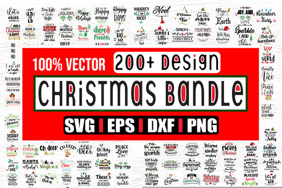 Print on Demand: 200 Designs Within Christmas Bundle Graphic Print Templates By svg.in.design