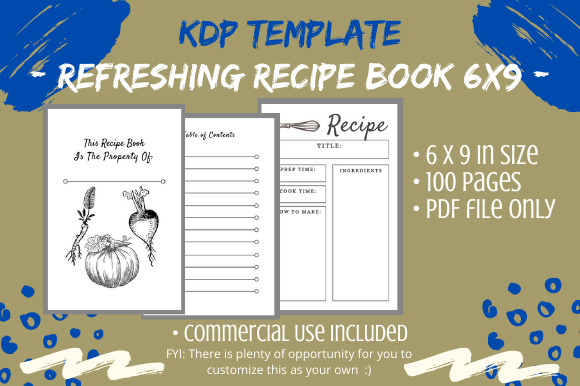 Print on Demand: 6 X 9 Refreshing Recipe Book for KDP Graphic KDP Interiors By Tomboy Designs