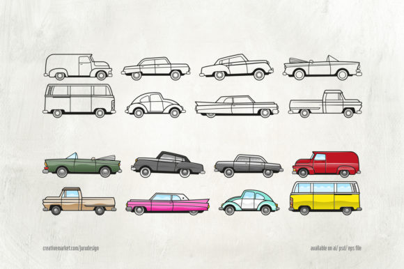 Print on Demand: 8 Classic Cars & Badges Graphic Objects By ihsankl