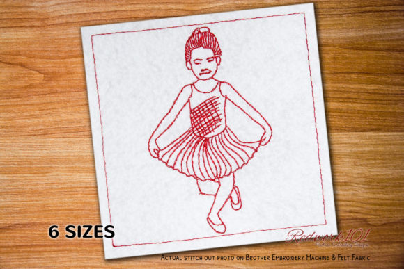 Ballerina Striking a Pose Redwork Dance & Drama Embroidery Design By Redwork101