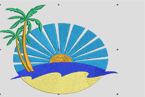 Beach, Sun, Sand, Palm Tree Beach & Nautical Embroidery Design By Digital Creations Art Studio
