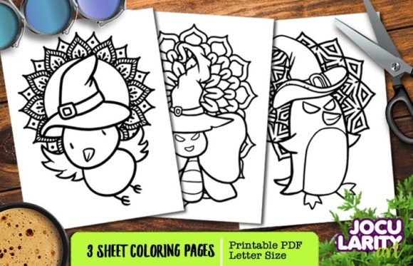 Bird, Butterfly, Penguin - Halloween Graphic Coloring Pages & Books Kids By JocularityArt