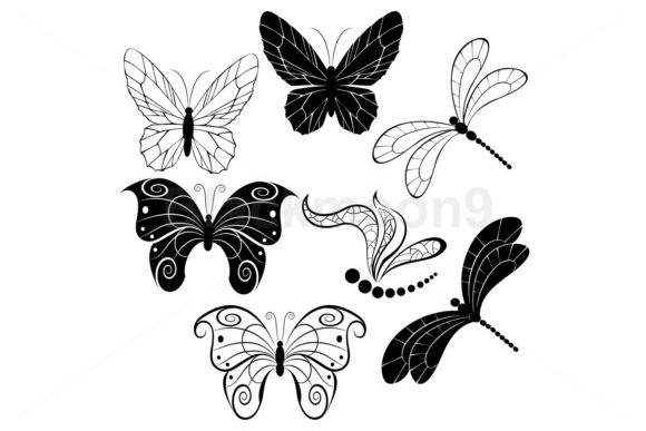 Black Butterflies and Dragonflies Graphic Illustrations By Blackmoon9