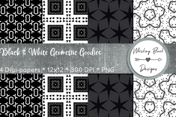 Print on Demand: Black & White Geometric Fun Papers Graphic Patterns By Whiskey Black Designs