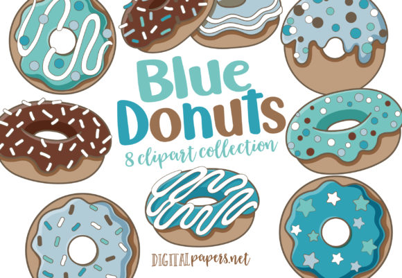 Print on Demand: Blue Donuts Graphic Illustrations By DigitalPapers