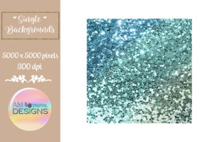 Blue Green Ombre Gradient Chunky Glitter Graphic Backgrounds By AM Digital Designs