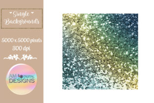 Blue and Green Gradient Chunky Glitter Graphic Backgrounds By AM Digital Designs