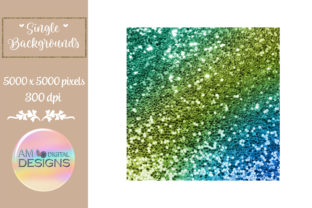 Blue to Green Gradient Chunky Glitter Graphic Backgrounds By AM Digital Designs