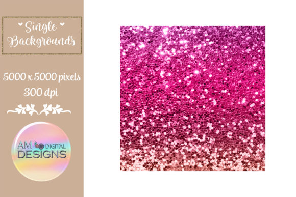 Bold Pink Ombre Gradient Chunky Glitter Graphic Backgrounds By AM Digital Designs