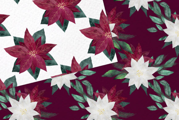 Burgundy Poinsettias Graphic Preview