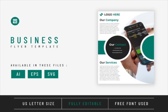 Business Flyer Template with Teal Color Graphic Print Templates By Saidi Creative