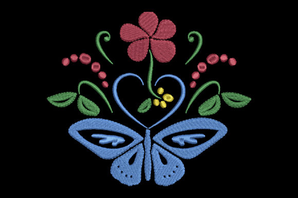 Butterfly, Heart and Flower Embroidery