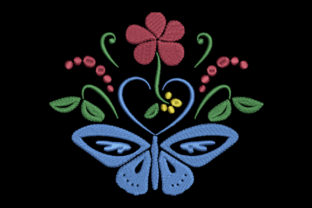 Print on Demand: Butterfly, Heart and Flower Single Flowers & Plants Embroidery Design By EmbArt
