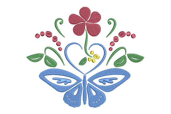 Butterfly, Heart and Flower Embroidery Download