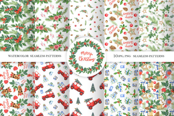 Print on Demand: CHRISTMAS Seamless Patterns Graphic Illustrations By evgenia_art_art