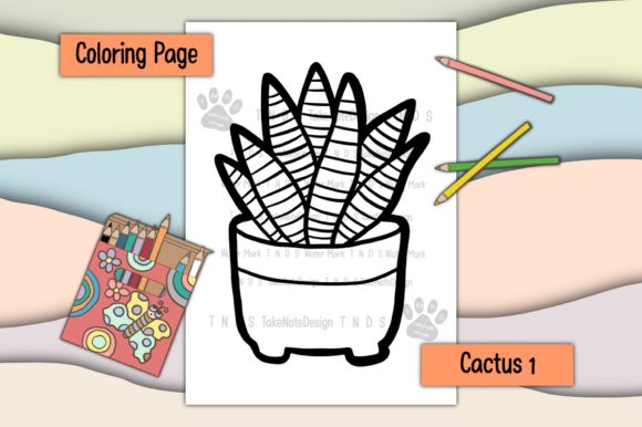 Cactus 1 Graphic Coloring Pages & Books Kids By TakeNoteDesign