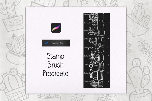 Cactus One Stamp Brush Procreate Graphic Brushes By TakeNoteDesign