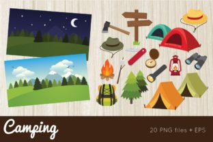 Camping Clipart Vector PNG Graphic Illustrations By peachycottoncandy