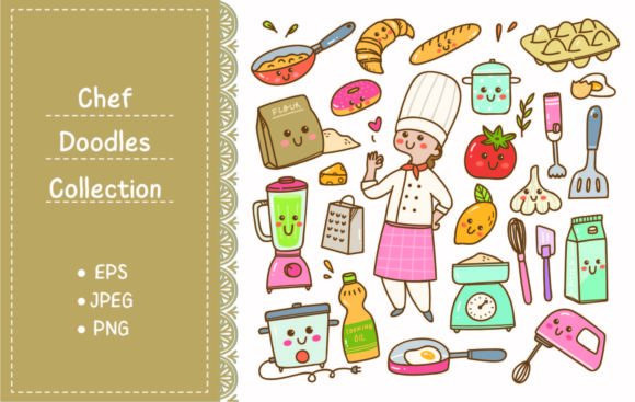 Cartoon Chef with Cooking Equipment Graphic Illustrations By Big Barn Doodles