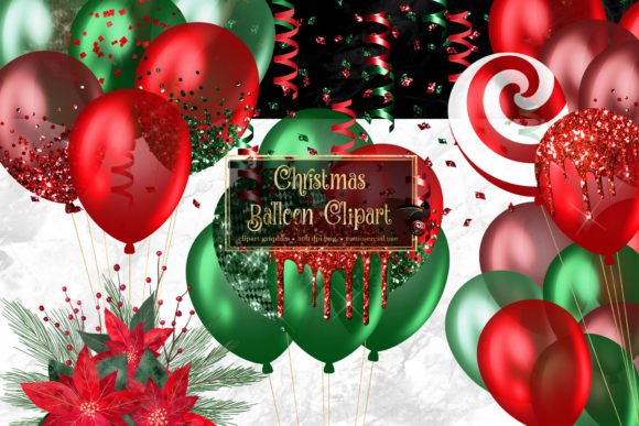 Christmas Balloons Clipart Graphic