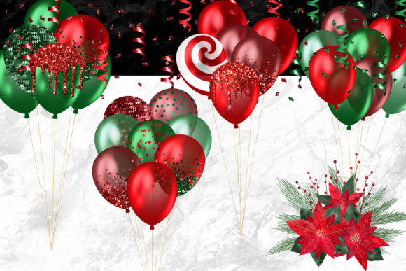 Christmas Balloons Clipart Graphic Download