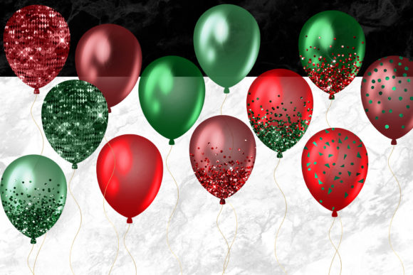 Christmas Balloons Clipart Graphic Item