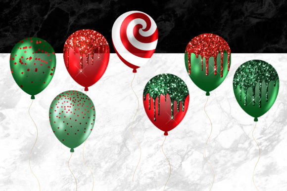 Christmas Balloons Clipart Graphic Design