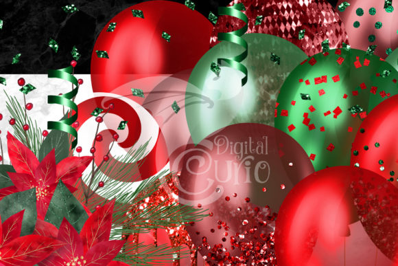 Christmas Balloons Clipart Graphic Preview