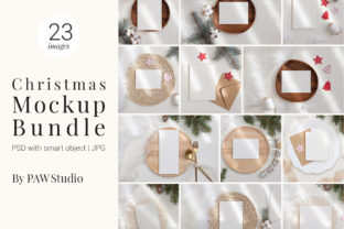 Print on Demand: Christmas Bundle Card Mockup Gráfico Mockups de productos Por PawMockup