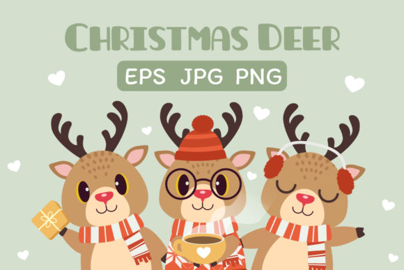 Christmas Deer Clipart Graphic Illustrations By Guppic the duck