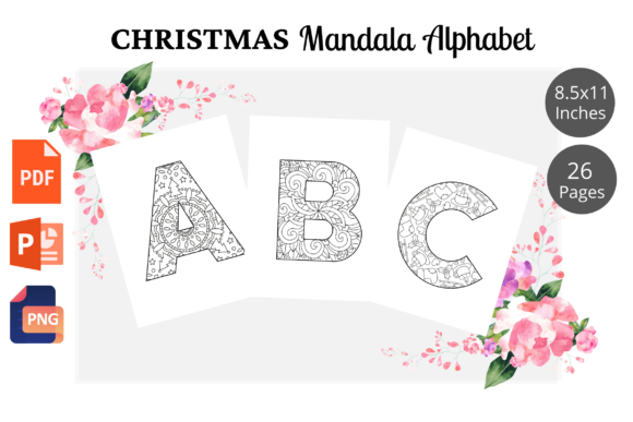 Christmas Mandala Alphabet Coloring Page Graphic KDP Interiors By KDPWarrior
