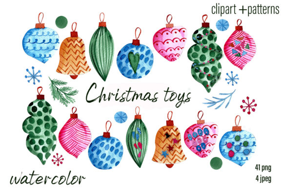 Print on Demand: Christmas Toys & Ornaments Clipart Set Graphic Illustrations By ElenaZlataArt