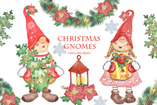 Christmas Gnomes Clipart. Winter Clipart Graphic Illustrations By EvArtPrint