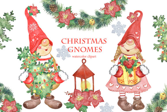 Christmas Gnomes Clipart. Winter Clipart Graphic Add-ons By EvArtPrint