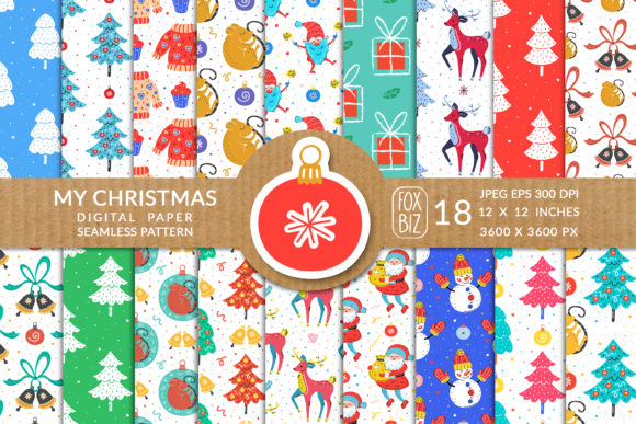 Print on Demand: Christmas Seamless Patterns Graphic Patterns By FoxBiz