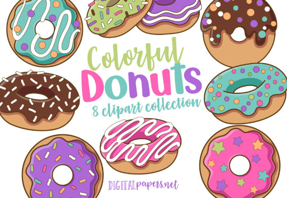 Print on Demand: Colorful Donuts Graphic Illustrations By DigitalPapers