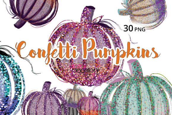 Print on Demand: Confetti Pumpkin Graphics Graphic Illustrations By Digital Doodlers