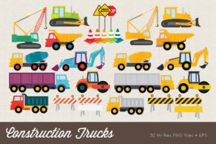 Construction Trucks Clip Art Vector PNG Graphic Illustrations By peachycottoncandy
